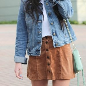 Boho 70's Style Faux Suede Midlength Skirt  2